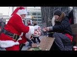 Santa Claus Gives Christmas Presents to the Homeless