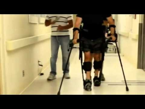 Video: Paralysed Mark Pollock walks with robotic...